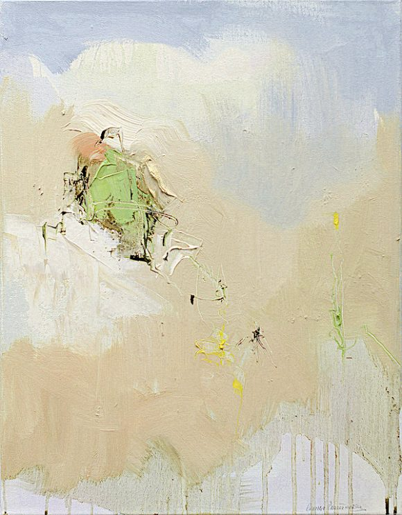 Abstract expressionist oil painting of Italian landscape in the subdued palette of a hot summer's noon with impasto