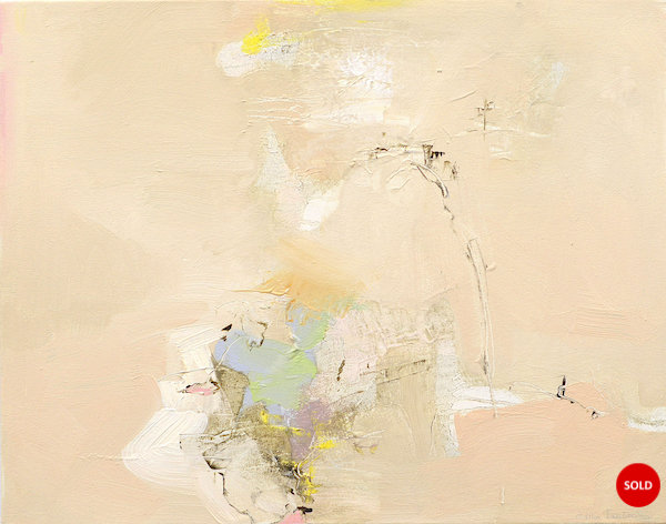 Abstract expressionist oil painting in the subdued palette of a hot Italian summer's day