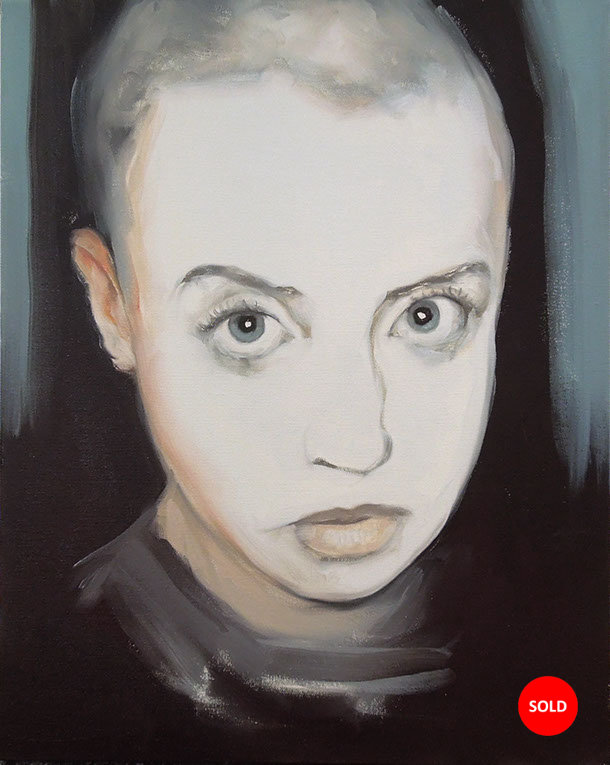 Artist Larissa Eremeeva's portrait in oil on canvas of a youth from the installation The Factory with SOLD sticker