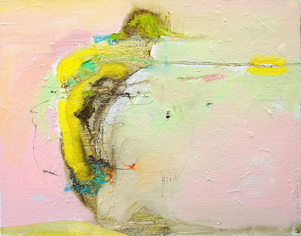 Abstract expressionist painting in pink, yellow and other colours with a banana shaped element