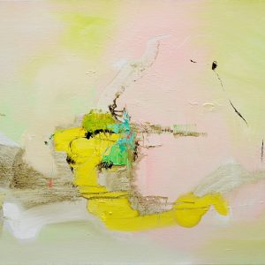 Abstract expressionist painting in pink, yellow and other colours with what could be a running figure