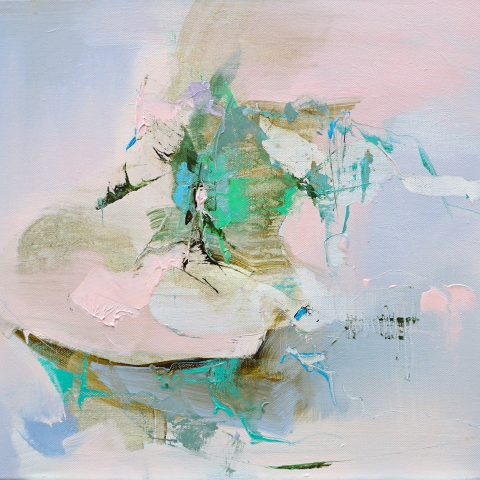 Abstract expressionist oil painting in light pink/blue palette