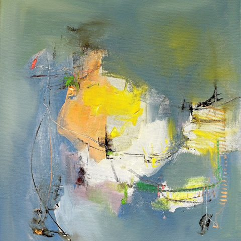 Abstract expressionist oil painting green/grey with white yellow and orange highlights