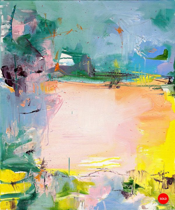 Modern abstract painting in bright colours of an Abruzzo agricultural landscape with SOLD sticker