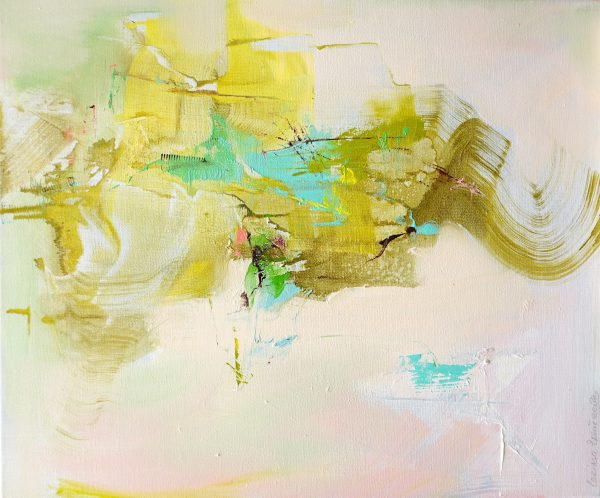 Abstract expressionist landscape in bright colours