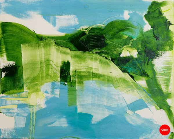 Abstract expressionist oil painting blue background with dynamic sweeping green foreground plus SOLD sticker