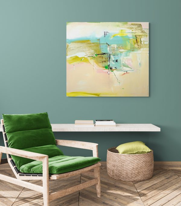 Abstract expressionist painting in bright green and other colours hanging in a cosy room with armchair and wallshelf