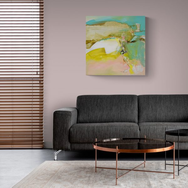 Abstract expressionist painting Silver Lining 2 hanging above a sofa in a shaded living room