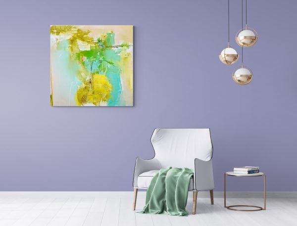Abstract expressionist painting Silver Lining #3 hanging in a modern lounge with white velvet chair