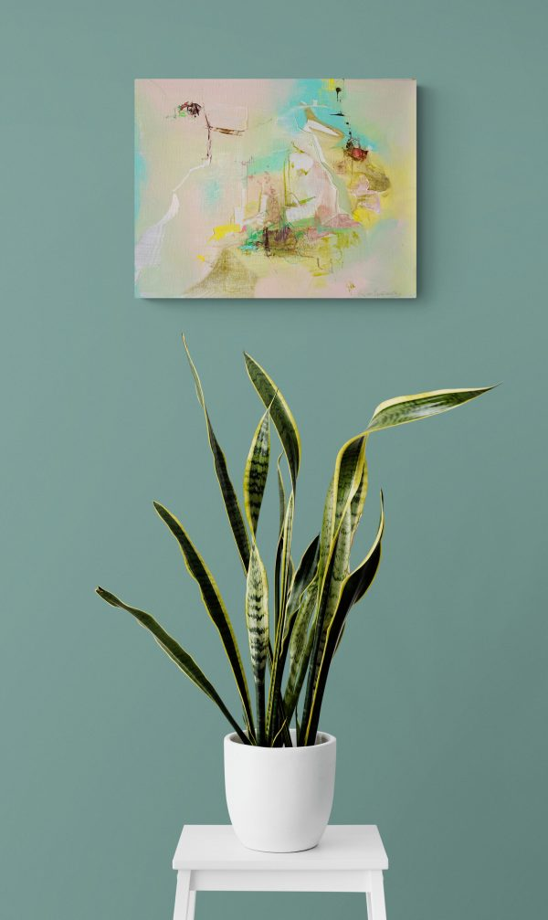 Abstract expressionist painting Silver Lining 7 hanging on a green wall above a snake plant in a white pot