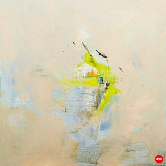 Abstract expressionist oil painting in the subdued palette of a breezy Italian summer's day with bright green highlights
