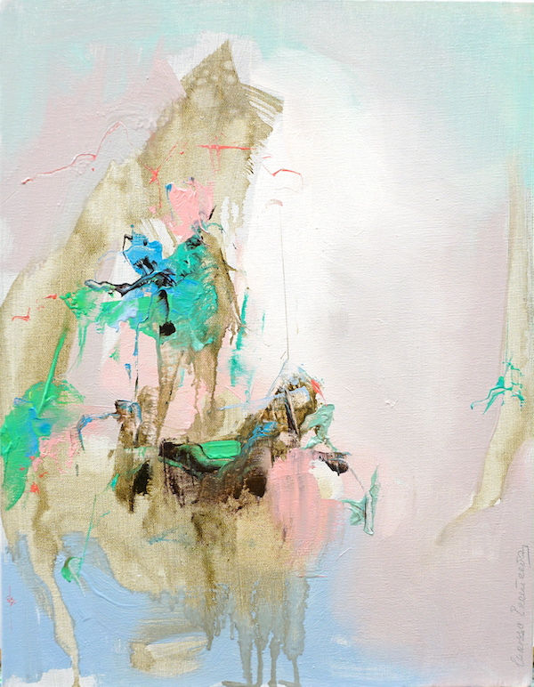 Abstract expressionist painting with pinks, blues, greens and other colours