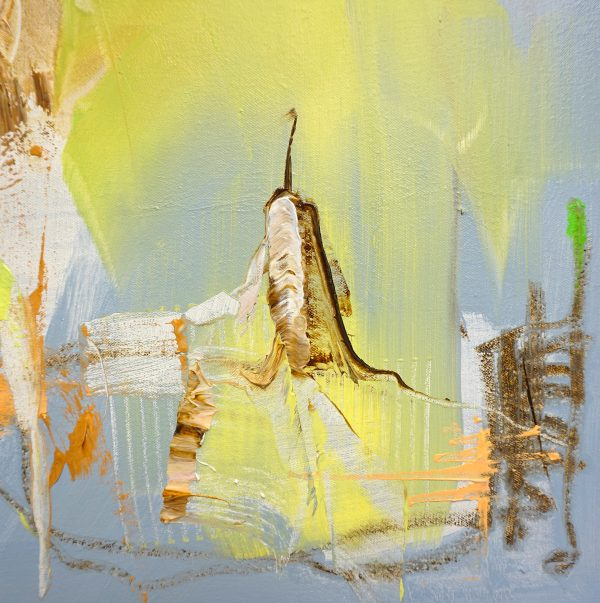Detail of Abstract expressionist oil painting in dark palette with orange and bright green in portrait format
