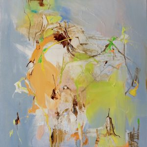 Abstract expressionist oil painting in dark palette with orange and bright green in portrait format