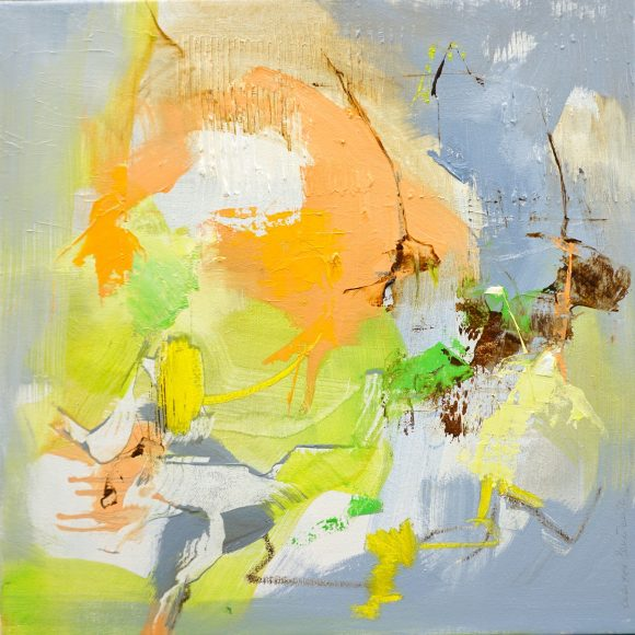 Abstract expressionist oil painting in dark palette with orange and bright green in square format