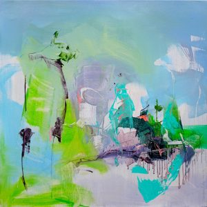 Abstract expressionist painting with blues, greens, violet and other colours