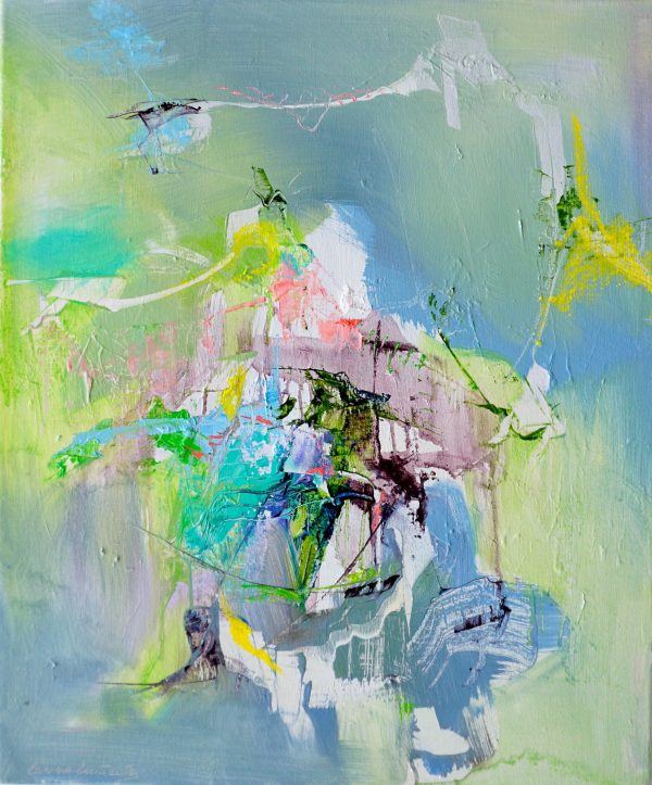 Abstract expressionist oil painting in deep coloured palette with blues. Yellows and bright green