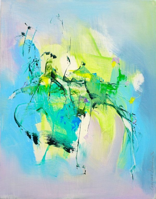 Abstract expressionist painting with bright blue, green, violet