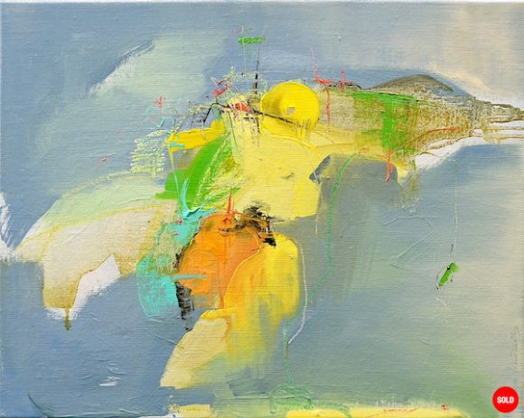 Abstract expressionist oil painting in dark palette with orange, yellow and bright green in landscape format