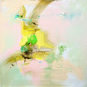 Abstract expressionist oil painting in the pastel palette of a hot Italian summer's day with yellow, pink and earth