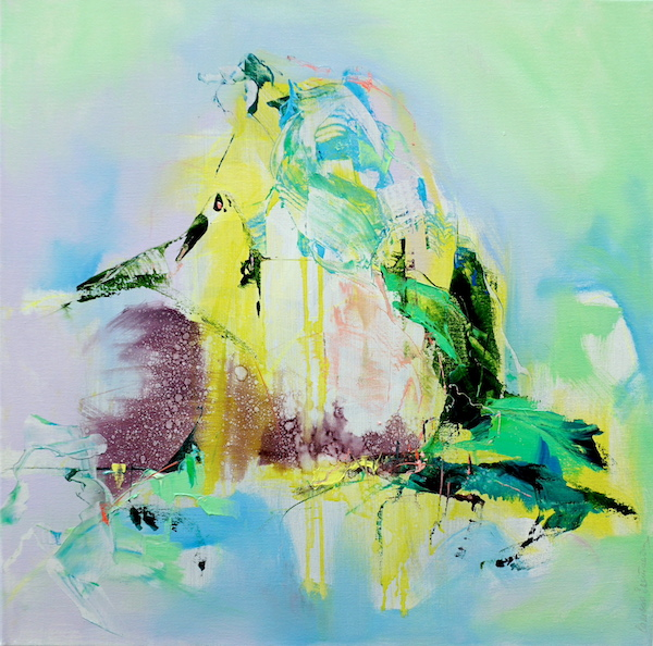 Abstract expressionist painting with bright green, violet and yellow