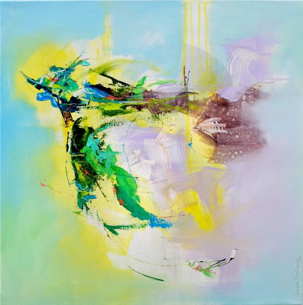 Abstract expressionist painting with bright blue, violet, green and yellow