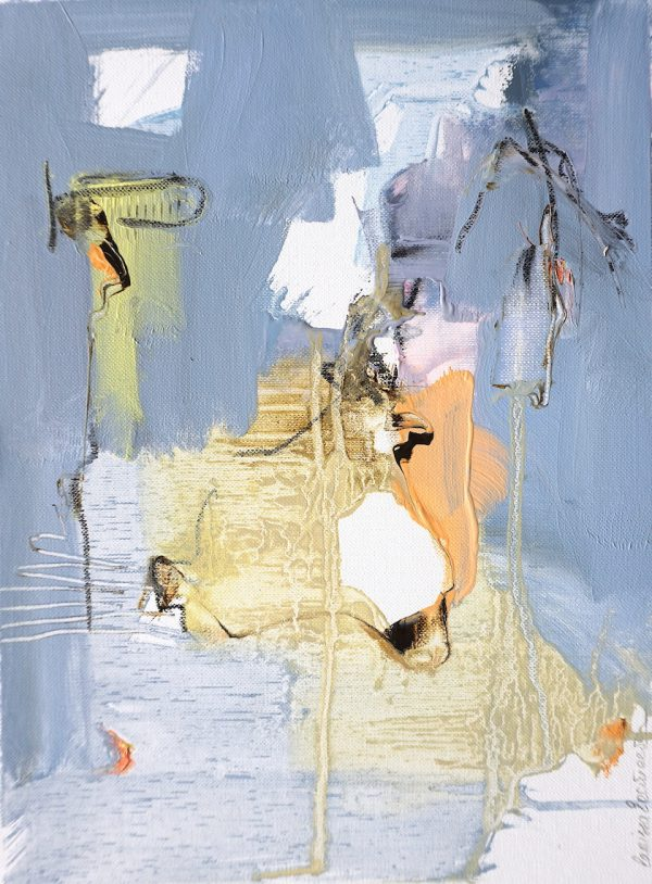 Abstract expressionist oil painting in the subdued palette of a hot Italian summer's day with blue and earth