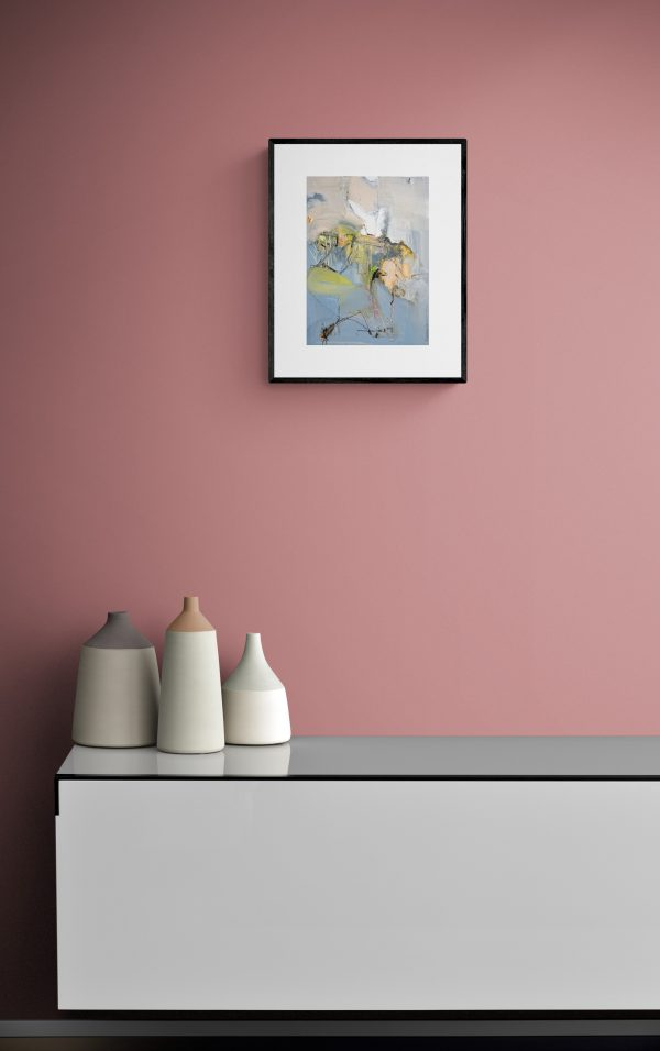 Abstract expressionist painting Mellow 28 hanging on wall above sideboard with earthenware pots