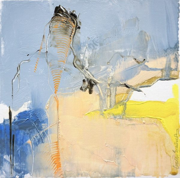 Abstract expressionist oil painting in the subdued palette of a hot Italian summer's day with blue and earth and orange highlights