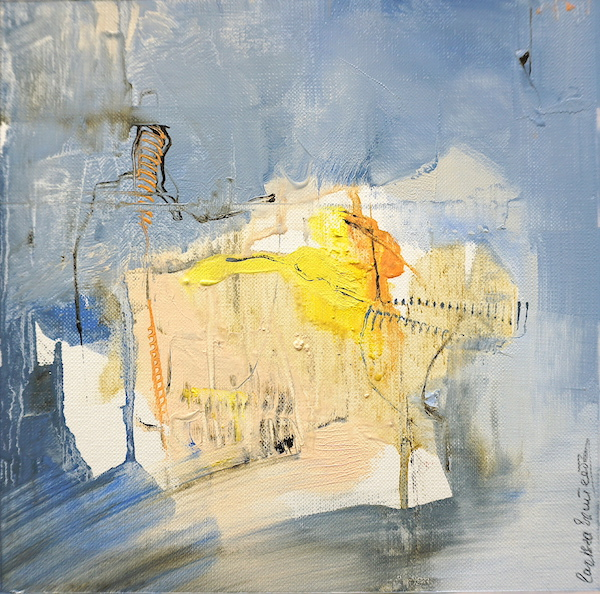 Abstract expressionist oil painting in the palette of an Italian summer evening with blue and earth and orange highlights