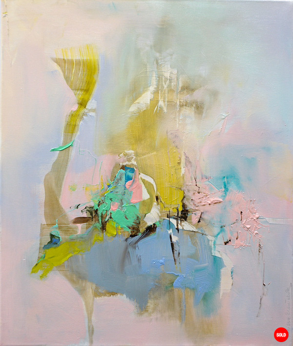 Abstract painting with pinks, blues, camel and other colours