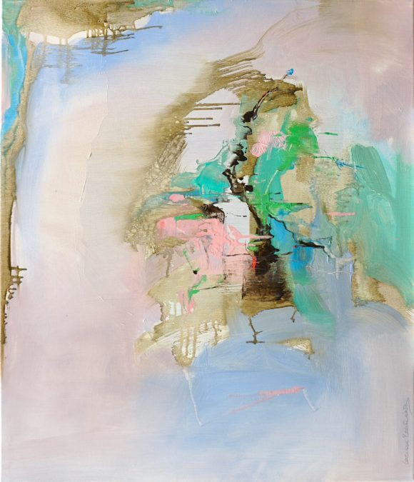 Abstract expressionist painting with pinks, blues, greens, black and other colours