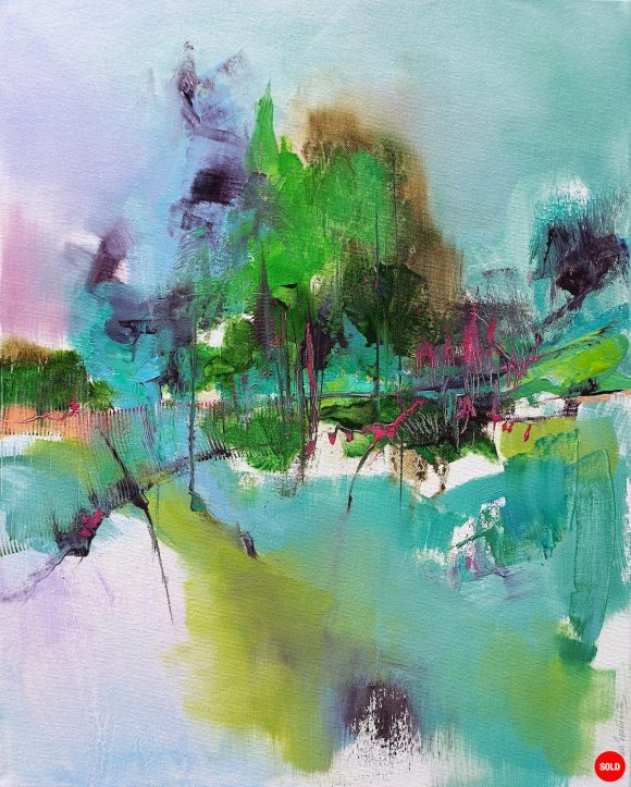 Modern abstract landscape painting showing forest and mountain with magenta highlights