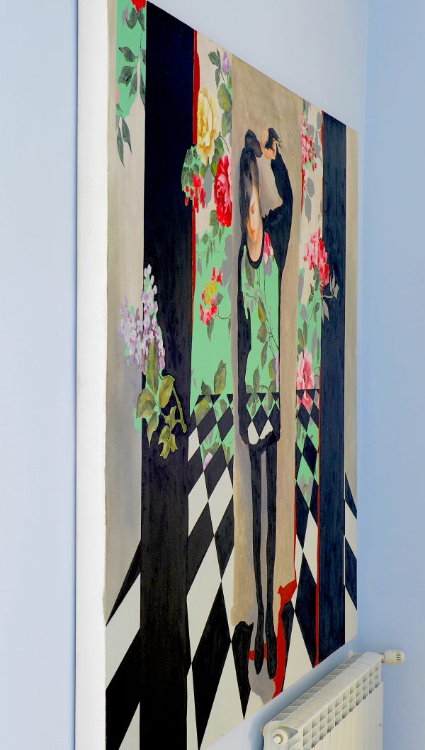 Sideview of large oil painting Wallpaper showing 6cm deep edges