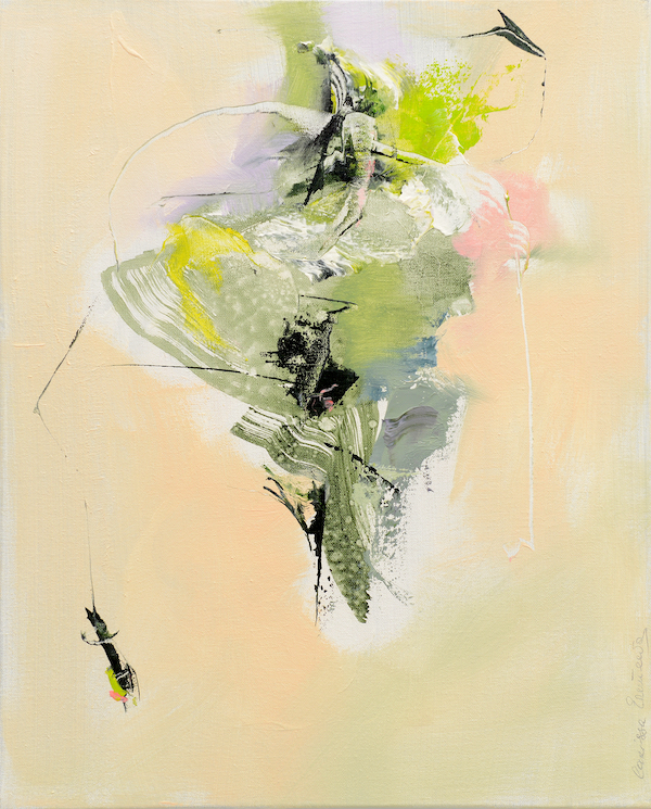 Abstract expressionist oil painting in the palette of a hot Italian summer's day with bright & dark green highlights