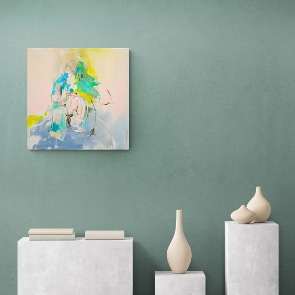 Abstract expressionist painting Mellow 14 hanging on a green wall above ceramic ware
