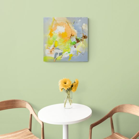 Abstract expressionist work Mellow #16 hanging in a bright cafe interior