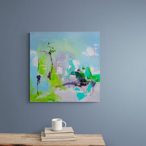 Abstract expressionist painting Mellow 17 hanging on a blue/grey wall above a wooden shelf