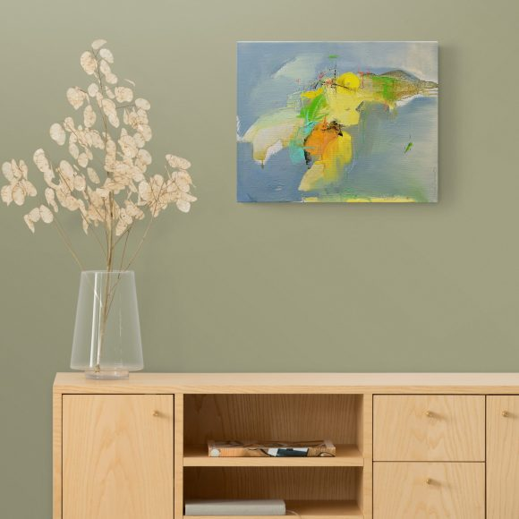 Abstract expressionist painting Mellow 21 (Appearance of an angel) in a setting with a wooden cabinet and dried plant