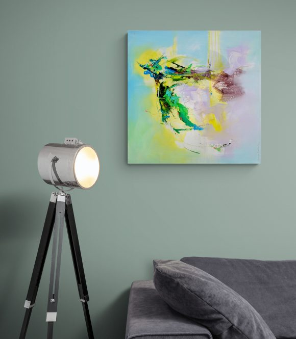 Abstract painting Mellow 24 hung on green wall above couch