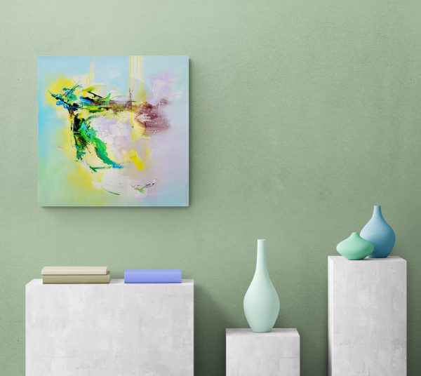 Abstract painting Mellow 26 hung on green wall above ceramic pots
