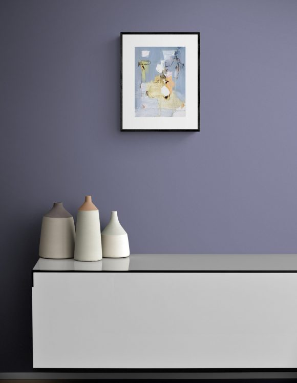 Abstract expressionist painting Mellow 27 (Walking the Walk) in a setting with sideboard and ceramic pots