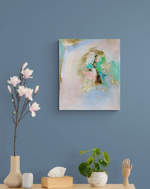 Abstract expressionist painting Little Black Hen hanging on blue wall above a sideboard