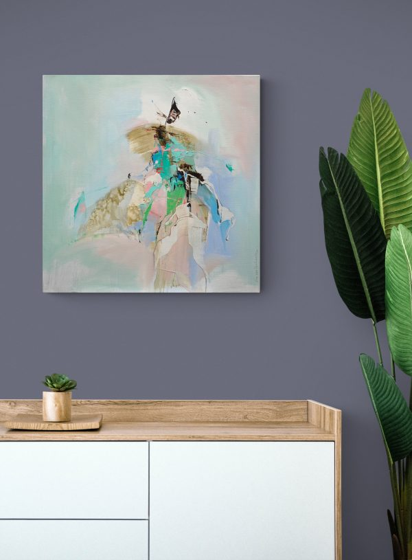 Abstract expressionist painting Windmill Fighter hanging on a mauve coloured wallabove a sideboard