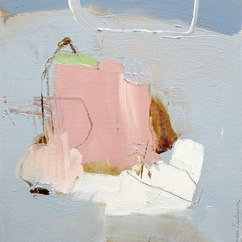 Abstract expressionist oil painting in white blue and pink with brown and green highlights