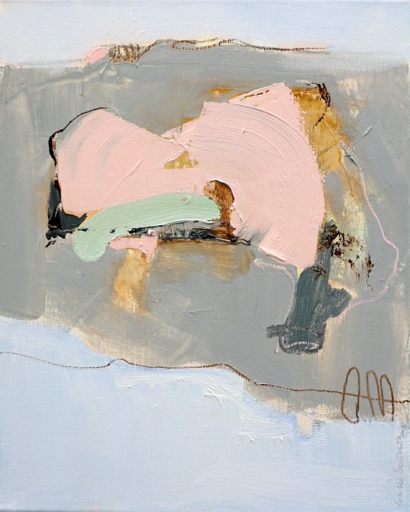 Abstract expressionist oil painting in white, blue and pink with green highlights and brown lining