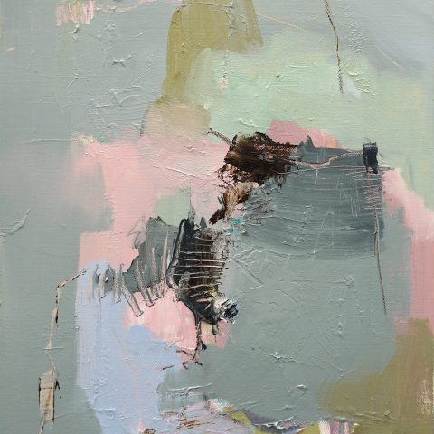 Abstract expressionist oil painting in blue and pink with green and dark green