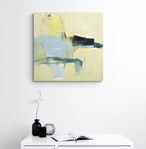 Evocative abstract painting Recall hanging on a white wall above a white cupboard