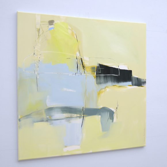 Side view of evocative abstract painting Recall