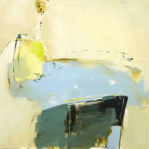 Evocative abstract painting in light brown, blue, green and primrose yellow